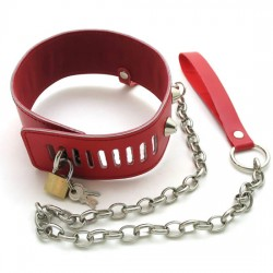 Red Leather Posture Collar Steel Spiked with Blue Heart Gemstone and Steel Chain leash