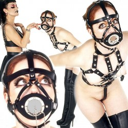 Open Mouth Gag Head Harness with Cover