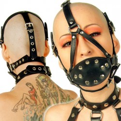 Black Full Head Harness Gag with Soft Pecker Mouth Insert Inside