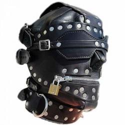 Red/Black Total Lockdown Leather Hood