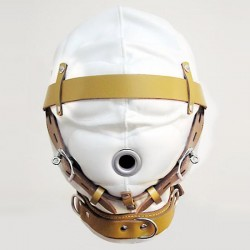 White with Tan Trim Leather Total Sensory Deprivation Hood