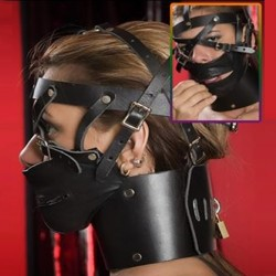 Black Leather X Head Harness Muzzle Zipper Mouth with High Collar Brass Padlock