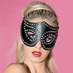 Black Leather Heavy Studded Cat Mask Fancy Party Fetish Dress