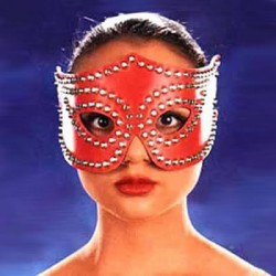 Red Leather Heavy Studded Cat Mask Fancy Party Fetish Dress