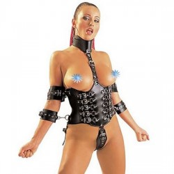 Fake leather Arm-Neck-Waist Restraint Set with Buckles