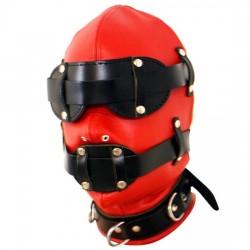 Cagoule en cuir rouge/noir