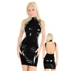 Dress in black faux leather