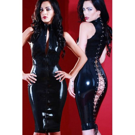 Vinyl dress with front zipper, gloves includ