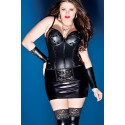Black faux leather corsets