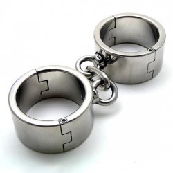 Heavy steel cuffs handcuffs with chain  Unisex