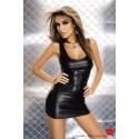 Black wetlook dress style has front zipper