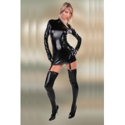 All long-sleeved style with stockings and garters wetlook