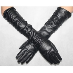 Long gloves made ​​of black faux leather