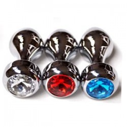 Golden Butt Plug Jewelry (rosebud II) Stainless Steel Jeweled Anal Plugs / Rosebud Anal Jewelry Blue