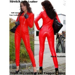 This catsuit is made ​​black leatherette