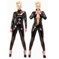 Black catsuit wetlook style