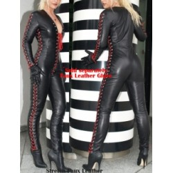 Catsuit black faux leather with red lace