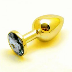 Golden Butt Plug Jewelry / Stainless Steel Jeweled Anal Plugs / Rosebud Anal Jewelry Blue