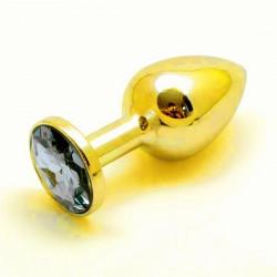 Plug anal  (Rosebud) en acier inoxidable sertie d'un bijou couleur or