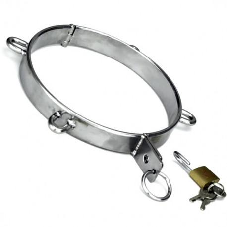 Locking Stainless Steel Slave Collars with 4 steel D-Rings