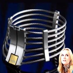 Unisex Steel Wire Slave Collar Cleopatra Collar Ann Posture Collar with Brass Lock Joints